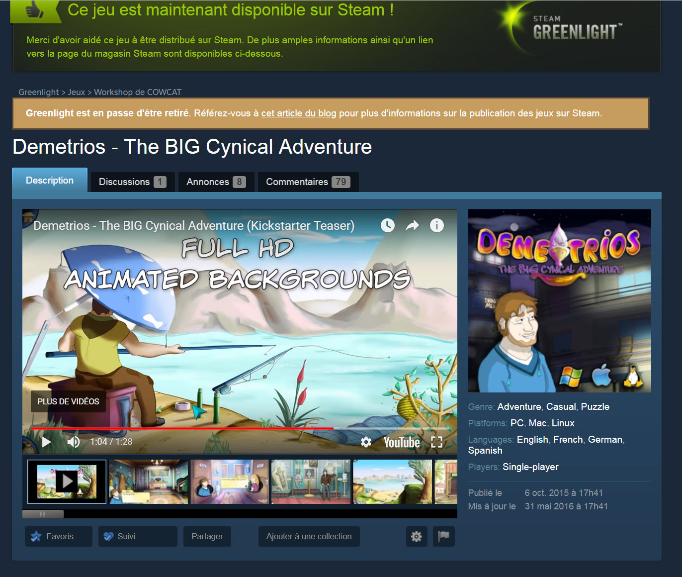Steam Greenlight page